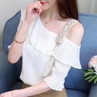 2018夏季新款韩版修身显瘦露背一字领荷叶边上衣蕾丝衫T恤