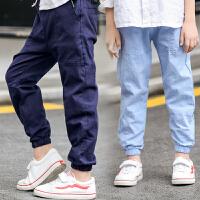 男童运动裤12儿童夏季九分裤宽松薄款夏款15岁中大童男孩裤子棉麻