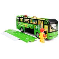 儿童玩具公交车可开门大巴回力车模型仿真旅行房车巴士合金车模型
