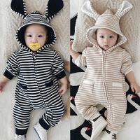婴儿连体衣服秋冬季加绒宝宝保暖外出拉链哈衣爬服0-3-6-9-12个月