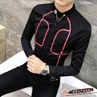 2018春季新款印花衬衫男长袖韩版修身潮流个性夜店发型师帅气衬衣