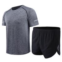 【速干衣裤 速干服】运动跑步套装男夏季马拉松三分短裤速干宽松T恤速干健身套装薄款