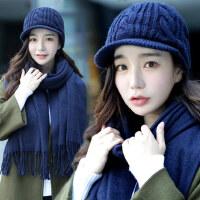 帽子女鸭舌潮学生百搭毛线帽韩版针织帽加绒青年时尚保暖围巾