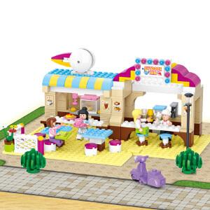 【当当自营】小鲁班新粉色梦想小镇女孩系列儿童益智拼装积木玩具 露天餐厅M38-B0530