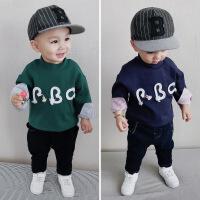 男童加绒T恤冬装新款1-5岁宝宝保暖打底衫男童字母贴布加厚上衣潮