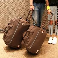 防水旅行包带轱辘轮子轻便行李手拖包男女拉杆袋大容量旅游手提包 深棕色 深棕色
