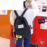 双肩包女2018新款书包女韩版 高中学生帆布背包 黑色 收藏送邮费险