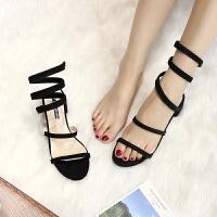 夏季女鞋气质性感水钻绕带露趾凉鞋女粗高跟凉鞋女