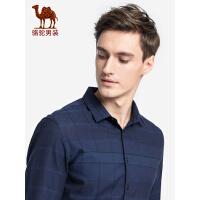 骆驼男装长袖衬衫 秋新款男士格子衬衣 青年休闲修身长袖上衣