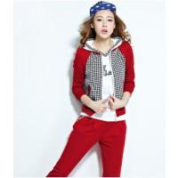 秋季女时尚运动套装大码时尚女士韩版三件套修身运动服套装