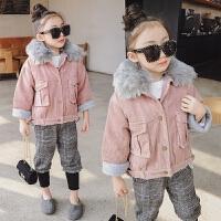 女童羊羔毛2017冬装新款童装儿童灯芯绒毛领保暖棉衣棉袄外套