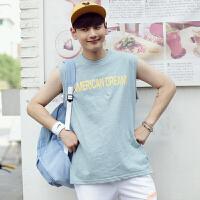 韩版情侣无袖学生篮球服纯色恤跑步背心运动打底衫班服潮