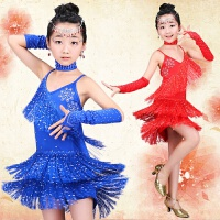儿童拉丁舞演出服新款亮片流苏裙少儿女童拉丁舞表演比赛演出服装