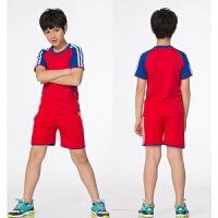 儿童足球服套装男童夏季球衣足球训练服男孩光板定制女小学生队服 447男女装同款红色套装 XXS