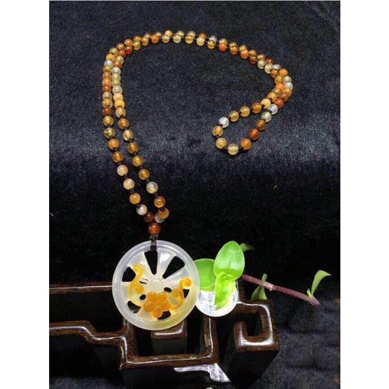 天然珠宝原皮原色镂空巧雕项链项坠坠子!花好月圆!【TQYS2-3(175)】
