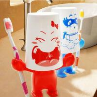 红兔子 创意卡通爱情大力士牙刷架+漱口杯+牙膏座洗漱套装图案随机