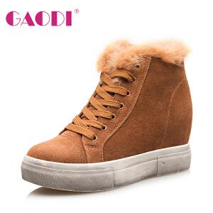 高蒂靴子女2016冬新款内增高雪地靴厚底圆头系带休闲短筒加绒棉靴