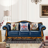 轻奢简约美式乡村欧式布艺沙发真皮沙发实木复古组合三人位小户型
