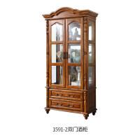 美式全实木酒柜现代简约整装电视边柜玻璃柜拐角小书柜 单门