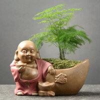 创意绿萝兰花粗陶透气花盆盆栽盆景带托盘家用室内陶瓷大口径盆器