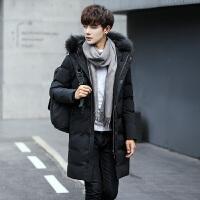 男士羽绒服中长款冬季新款韩版潮流修身帅气加厚白鸭绒外套男