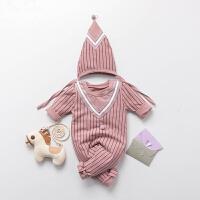 婴儿连体衣服冬季宝宝0岁3月可爱新生儿冬装睡衣外出服新年