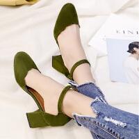 休闲凉鞋女春夏季chic单鞋女小清新粗跟高跟鞋女鞋子