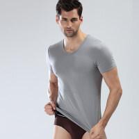 新款男士V领短袖T恤纯色透气打底衫夏季冰丝紧身时尚潮流汗衫礼盒 浅灰 185(XXXL)