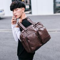 韩版男包单肩包手提包男士包包斜挎包休闲包旅行包PU皮潮大包 深棕