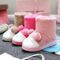 棉拖鞋女居家韩版卡通可爱厚底包跟加绒月子室内防滑棉鞋