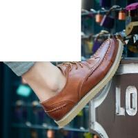 布洛克板鞋男 新款夏季布洛克雕花男鞋子韩版英伦男士休闲皮鞋潮鞋青年板鞋舒适透气