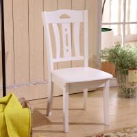 全实木餐椅家用简约现代新中式靠背椅子白色凳子酒店饭店原木椅子