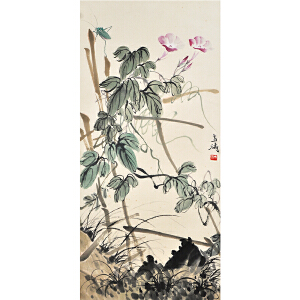 D2480王雪涛《花卉草虫》(北京文物公司旧藏、原装旧裱,满斑)