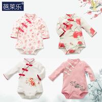 婴儿冬装连体衣哈衣棉衣新生儿宝宝衣服女0岁3个月6三角新年初生