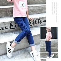 女童牛仔裤纯色蓝色弹力长裤2018春季新款时尚铅笔裤儿童小脚裤潮