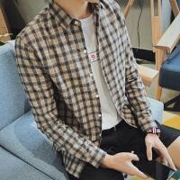 小码男装矮小个子长袖衬衫男160小码S码经典格子衬衣韩版修身寸衫