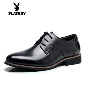 花花公子 商务休闲皮鞋 男士皮鞋正装系带头层牛皮婚鞋拓-F002163513