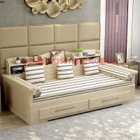 实木沙发床小户型多功能带储物书柜1.2 1.5 1.8米推拉坐卧两用床 2米以上
