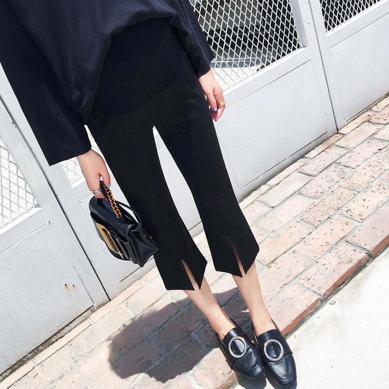 孕妇裤子春夏天薄款七分裤春秋款外穿2018新款潮喇叭裤宽松休闲裤 黑色 发货周期:一般在付款后2-90天左右发货,具体发货时间请以与客服协商的时间为准
