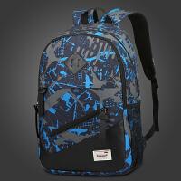 韩版大高中学生书包男时尚潮流防双肩包休闲防水电脑旅游背包 蓝色印花