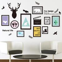 房间装饰品沙发背景墙自粘壁纸客厅墙贴纸贴画北欧式鹿头装饰画框