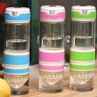 500ML玻璃柠檬杯时尚高硼硅玻璃水杯子便携创意情侣茶杯透明随手杯子