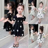 女童连衣裙夏雪纺2020年春季3岁l新款小童儿童黑白点