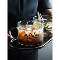 创意半房字母玻璃杯子大号带把马克杯办公室茶杯燕麦早餐杯甜品杯