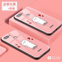 小米红米6手机套 小米 红米6a保护壳 红米6pro 手机外壳 个性创意硅胶软边彩绘卡通钢化玻璃保护套潮男女款网红