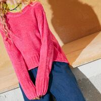 妖精的口袋摩登民族秋冬装新款宽松纯色套头毛衣女短款