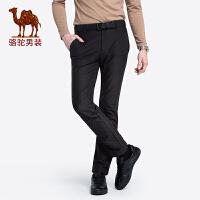骆驼男装 秋冬新款青年中腰修身长裤子纯色弹力商务休闲裤男