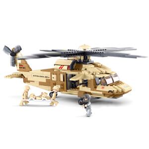 【当当自营】小鲁班空军部队军事系列儿童益智拼装积木玩具 黑鹰直升机M38-B0509