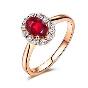 梦 梵雅 钻戒  彩宝戒指  18金镶钻显钻50分红宝石戒指饰品礼品