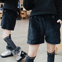 女童棉短裤加厚 双12新款冬季侧开叉夹棉保暖短裤靴裤短款休闲裤